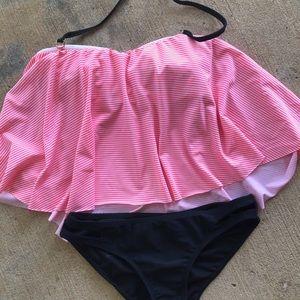 Bright pink flowy tankini swimsuit